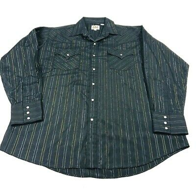 eaa3d447 Vintage Ely Cattleman Western Wear Pearl Snap Long Sleeve Shirt Mens Large  Black