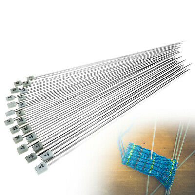 Women Steel Straight/Single Point Knitting Needles 35cm 2-12mm Accessory Tool