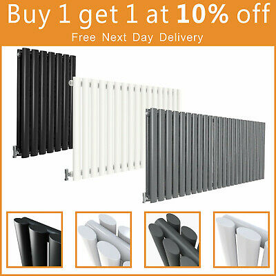 Horizontal Designer Radiator Oval Column Panel Modern Central Heating Rad UK New