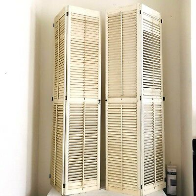 "Pair of Louvered Plantation Window Shutters Wood interior 71.5"" H x 27.5'' W"