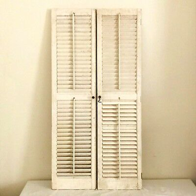 "Pair of  Louvered Plantation Window Shutters Wood interior 45.5"" H x 11'' W"