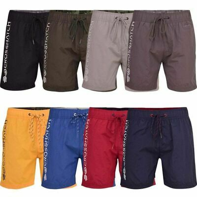 Mens Crosshatch Designer Swimming Shorts Mesh Lined Trunks Drawcord Beach Casual