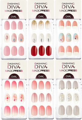 DASHING DIVA Magic Press On Gel Nail Manicure OVAL Type 2019 NEW SLIM FIT 30Tips