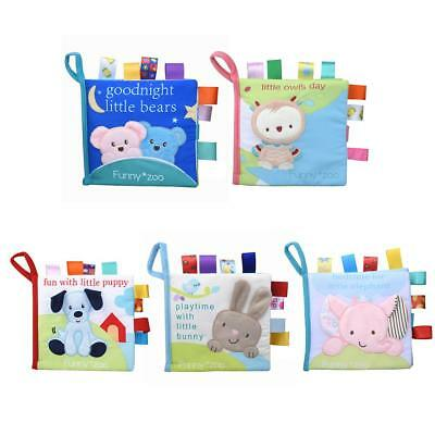 Animal Baby Kids Soft Cloth Book Infant Early Educational Fabric Book Rattle Toy