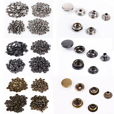 Starter Gift 100 Set Metal No Sewing Press Studs Buttons Snap Fastener 10mm 15mm