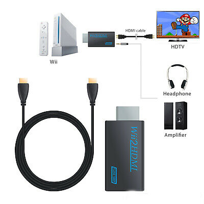 Wii Input To HDMI 720P 1080P HD Audio Output Converter Adapter Cable 3.5mm Jack