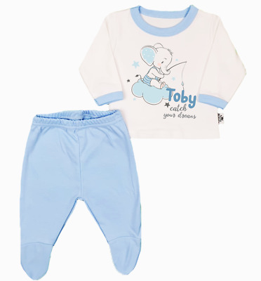 Personalised Catch Your Dreams Organic Baby Pyjamas Footed Baby Gifts Blue