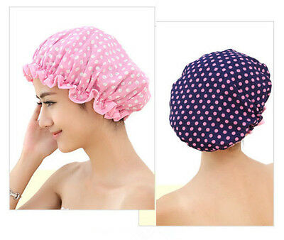 2Pcs Women Waterproof Polka Dot Shower Cap Elastic Bath Bathing Hat Hair Cover