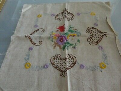 Vintage partly Unworked Embroidery cushion cover with backing  pure linen pansy
