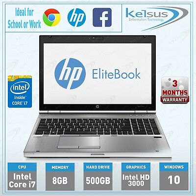 "Fast HP EliteBook 8560p 15.6"" inch Laptop Core i7 8GB RAM 500GB HDD Windows 10"