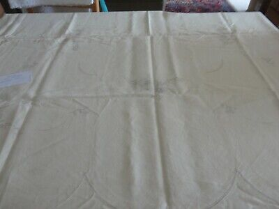 Vintage Unworked Embroidery table cloth pure linen 54x54