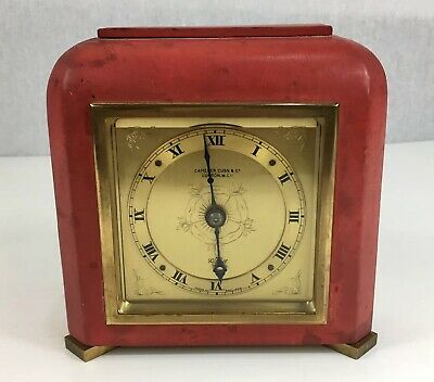 Elliot Clock Red Coral Gilt Tooled Leather Camerer Cuss Co Retailed Working
