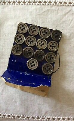 14 Grey Vintage Mother Of Pearl Buttons; On Original Card; Diameter 1.3cm