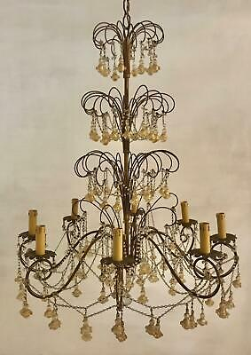 LARGE VINTAGE MURANO MACARONI CRYSTAL BEADED CHANDELIER FROM THE 1950's