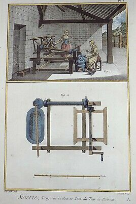 1780 Diderot SOIERIE - SILK WEAVING - hand coloured FOLIO engraving