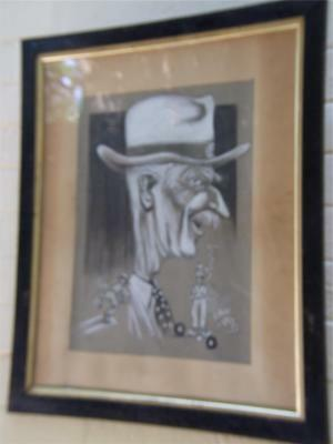 RAFTY Tony( 1915-2015) Australian Art Painting Golfer Caricature Portrait Signed