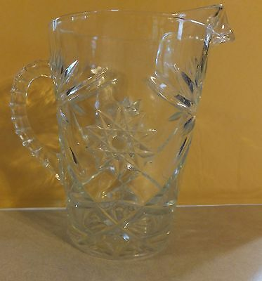 Vintage Heavy Star Burst Pattern Clear Glass Pitcher Ribbed Handle Estate Find