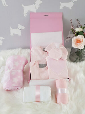 PERSONALISED 'Loving Hearts' New Baby Girl Gift Hamper, Baby Shower Gift Box