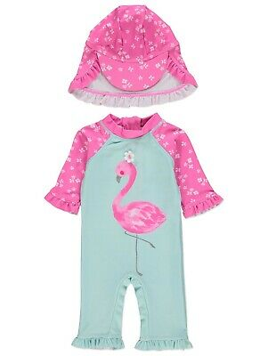 Girls Flamingo Sun Protection UV Swimsuit and Hat Set Holiday Surfsuit NEW BNWT