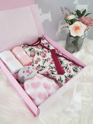 PERSONALISED 'ROSE' New Baby Girl Gift Hamper, Baby Shower Gift Box LARGE
