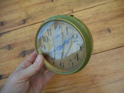 Antique 1920's Westclox Big Ben De Luxe Green Crackle Paint Alarm Clock