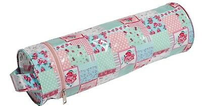 FLORAL PATCHWORK THEME KNITTING YARN / WOOL HOLDER - BAG Elongated FOR NEEDLES