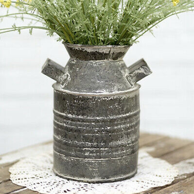 Distress Farmhouse Rustic Metal Farm Jug, Vase, Pail, Container