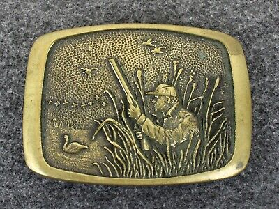 Vintage 70's 1978 Hunter Geese Outdoors BTS Solid Brass Belt Buckle Made In USA