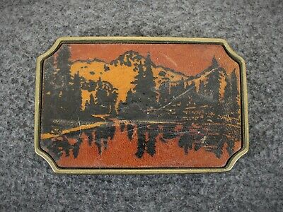 Vintage Leather Mountains Forest Nature BTS Solid Brass Belt Buckle Made In USA