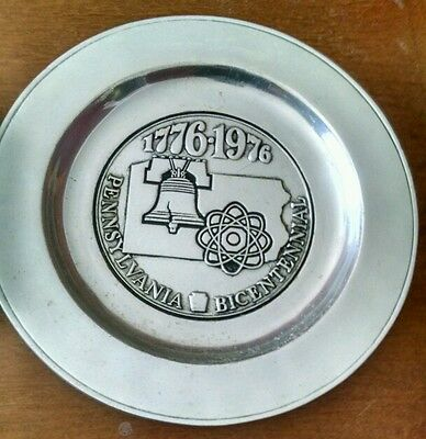 Vintage Liberty Bell Pennsylvania Bicentennial Armetale Plate Highly Collectible