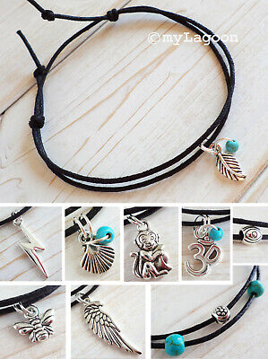 Silver Charm Anklet Black Cord Ankle Bracelet Feather OM Angel Wing Bee Anchor