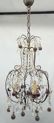 Vintage Italian Crystal Macaroni Chandelier With Murano Drops