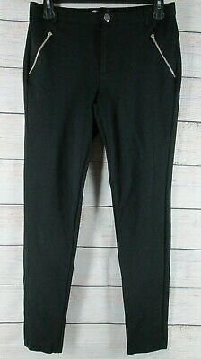 Shinestar Skinny Black Pants Elastic Waist Pull-On Zippers Women's Large L Slim