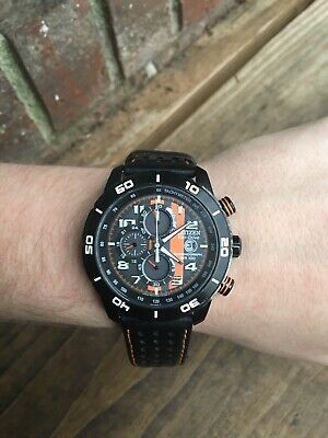 CITIZEN Eco-Drive B612-S084059 Chronograph WR100 Black/Orange Mens Wrist Watch