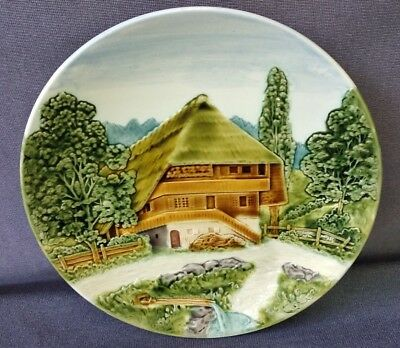 Vintage Embossed Black Forest Mountain Chalet Germany Majolica Wall Plate