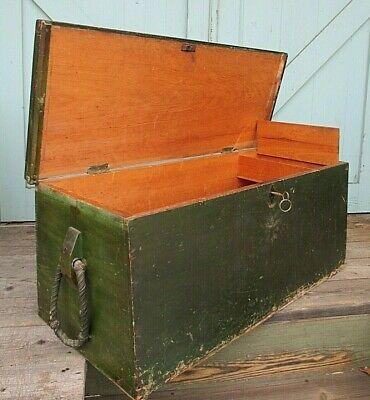 Sailor SEA CHEST green paint SHIP nautical SEAMAN whale SPLAYED antique CANTED