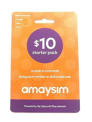 $10 Amaysim Prepaid Starter Pack Unlimited 1GB  - Multi-fit SIM -  Free Post