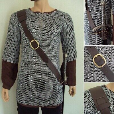 Brown Leather Medieval Adjustable Baldric for Stage,Costume,Re-enactment & LARP