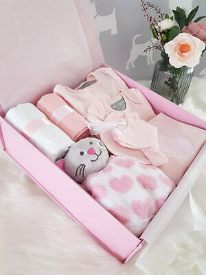 PERSONALISED 'Pink Bow' New Baby Girl Gift Hamper, Baby Shower Gift LARGE