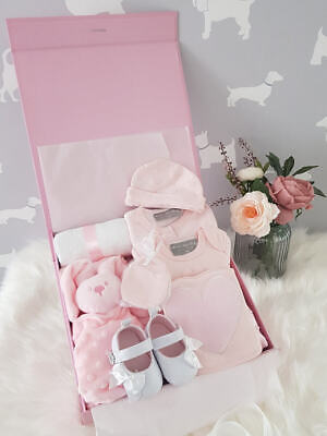 PERSONALISED 'Pink Bow' New Baby Girl Gift Hamper, Baby Shower Gift LUXURY