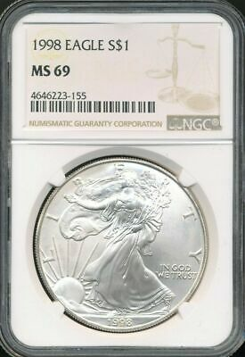 1998 American Silver Eagle NGC MS69 New Holder Brown Label Stock Photo
