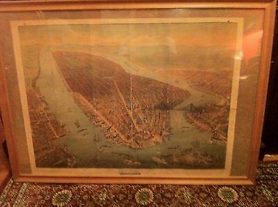 19c Large Pictorial Map Of New York City  34 X 26 Inches
