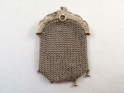 Antique Silver Mesh Coin Purse Chatelaine W/ Inside Pouch