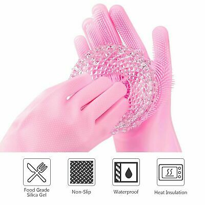 Rubber Silicone Scrubber Gloves Dish Cleaning Washing Up Kitchen Body Wash Pink