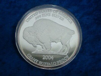 2004 Giant Buffalo Proof One Ounce 1oz Fine .999 Silver Round Sealed with COA
