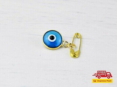 Gold Colour Lucky Blue Evil Eye Protection Safety Pin Brooch For Baby