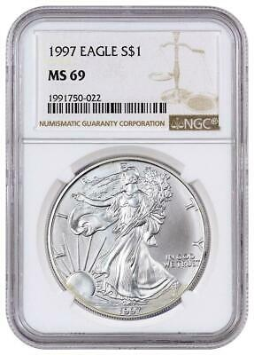 1997 American Silver Eagle NGC MS69 New Holder Brown Label Stock Photo