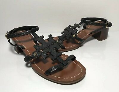 f08b8ed9cace Tory Burch Phoebe Leather Logo Sandals Black Women s Size 9 M Block Stacked  Heel
