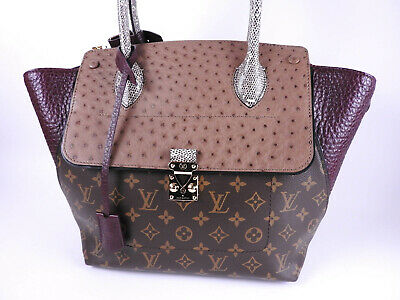 97d76cb97765 Auth LOUIS VUITTON Monogram Exotic Tote PM Tote Hand Bag Ostrich N91278  A-9286