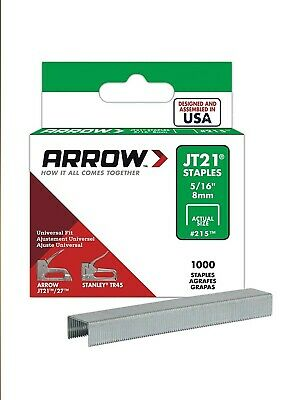 Arrow Universal Fit Staples for JT21 T27 Box 1000 8mm 5/16in ARRJT21516S USA